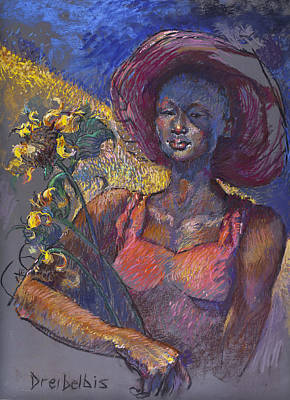 Painting - Sunflower Woman by Ellen Dreibelbis
