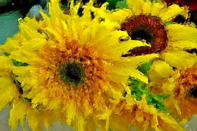 Painting - Sunflowers - Light And Dark by Michael Thomas
