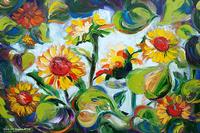 Painting - Sunflowers 3 by Gina De Gorna