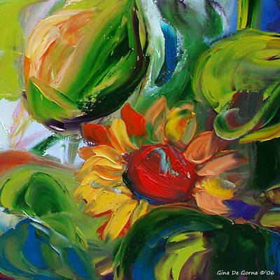 Blue Painting - Sunflowers 8 by Gina De Gorna