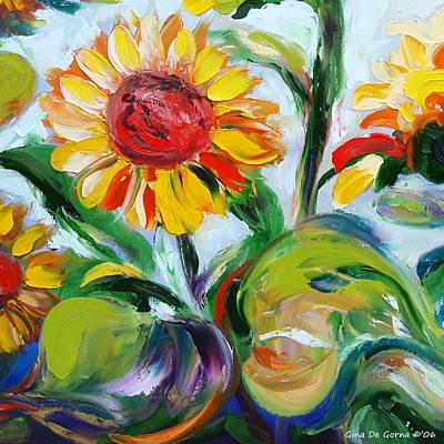 Gina Gray Painting - Sunflowers 9 by Gina De Gorna