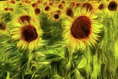 Mixed Media - Sunflowers Abstract Van Gogh by David Pyatt