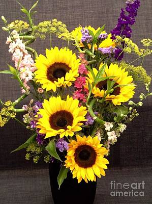 Photograph - Sunflowers And Bamboo by Joan-Violet Stretch