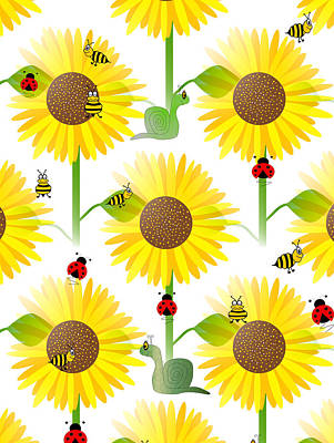 Sunflowers Digital Art - Sunflowers And Bees by Kathleen Sartoris