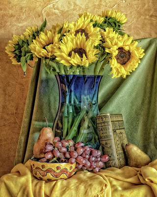 Sunflowers And Blue Vase Art Print
