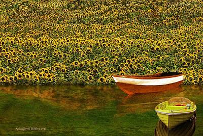 Photograph - Sunflowers And Boats by Aleksander Rotner