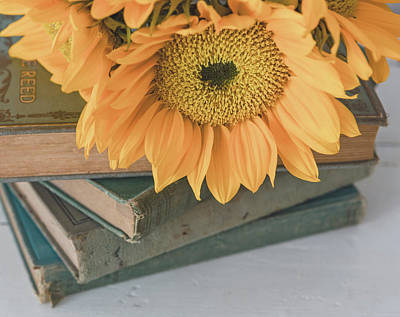 Art Print featuring the photograph Sunflowers And Books by Kim Hojnacki