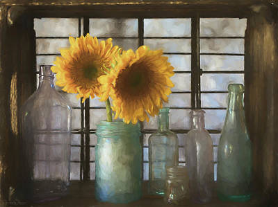 Mixed Media Royalty Free Images - Sunflowers and Bottles Royalty-Free Image by Teresa Wilson