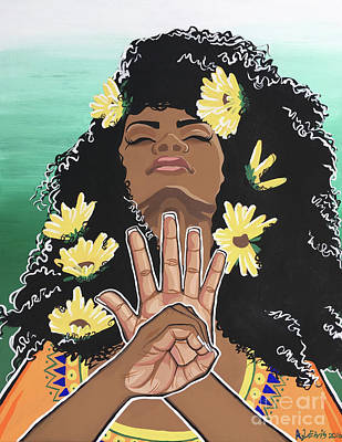African-americans Painting - Sunflowers And Dashiki by Alisha Lewis