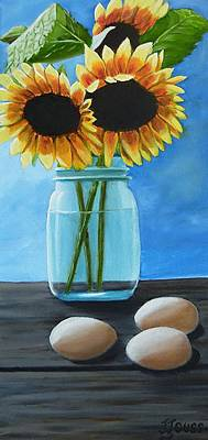 Sunflowers And Eggs Original by Janet Guss