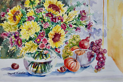 Painting - Sunflowers And Fruit by Ingrid Dohm