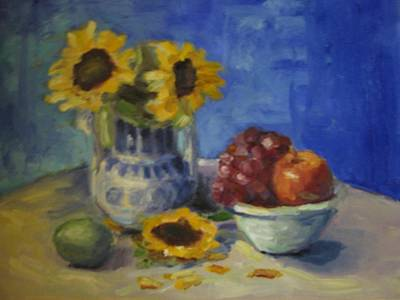 Painting - Sunflowers And Fruit by Sharon Franke
