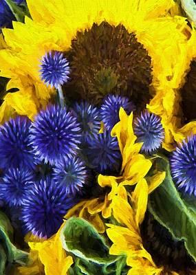 Digital Art - Sunflowers And Globe Thistles by Charmaine Zoe