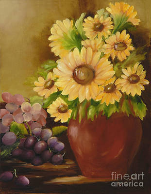 Terra Painting - Sunflowers And Grapes by Carol Sweetwood