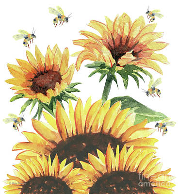 Painting - Sunflowers And Honey Bees by Melly Terpening