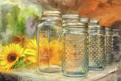 Rural Scenes Digital Art - Sunflowers And Jars by Lois Bryan