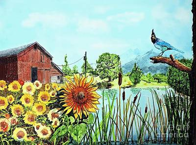 Painting - Sunflowers And Jaybird by Tom Riggs
