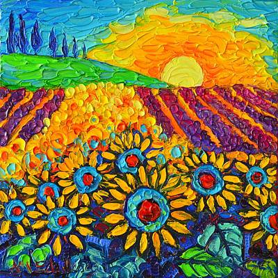 Tuscan Sunflowers Painting - Sunflowers And Lavender At Sunrise Palette Knife Oil Painting By Ana Maria Edulescu by Ana Maria Edulescu