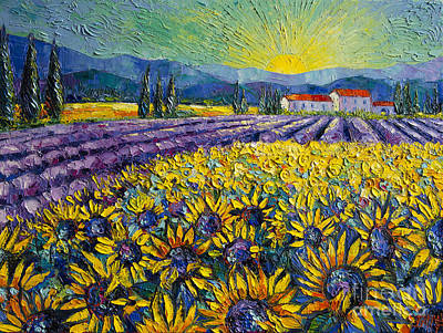 Landscape Oil Painting - Sunflowers And Lavender Field - The Colors Of Provence by Mona Edulesco