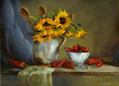 Painting - Sunflowers And Paprika by Viktoria K Majestic