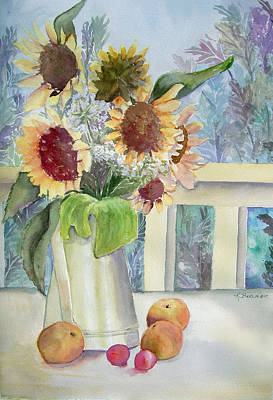 Sunflowers And Peaches Art Print by Katherine  Berlin