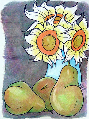Drawing - Sunflowers And Pears by Loretta Nash