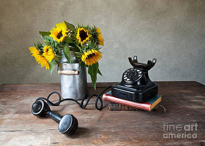 Old Fashion Photograph - Sunflowers And Phone by Nailia Schwarz