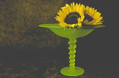 Vaseline Glass Photograph - Sunflowers And Tiffin Glass by Kim Lenz