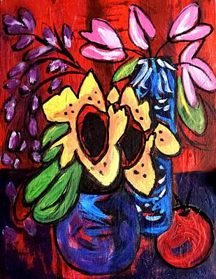 Painting - Sunflowers And Tulips by Nikki Dalton