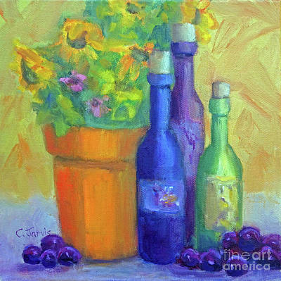 Painting - Sunflowers And Wine by Carolyn Jarvis