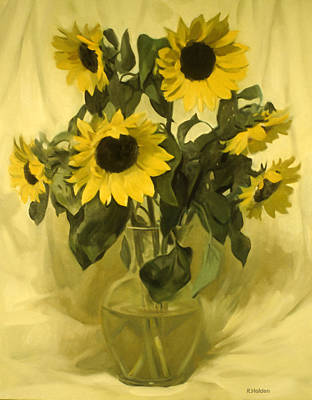 Painting - Sunflowers And Yellow Drape by Robert Holden