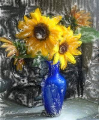 Vivid Colour Painting - Sunflowers by Andreas Konstantinidis