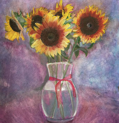 Painting - Sunflowers by Arna Vodenos