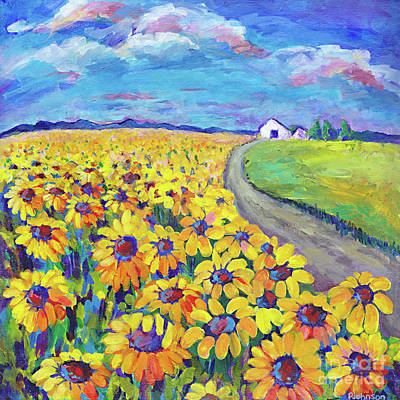 Painting - Sunflowers Around The Bend By Peggy Johnson by Peggy Johnson