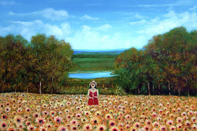 Painting - Sunflowers At Lake Wallenpaupack by Leonardo Ruggieri
