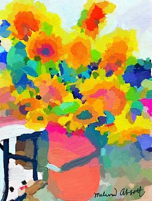 Digital Sunflower Painting - Sunflowers At Rockport Farmer's Market by Melissa Abbott
