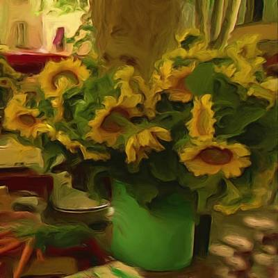 Painting - Sunflowers At The Market by Shelley Bain