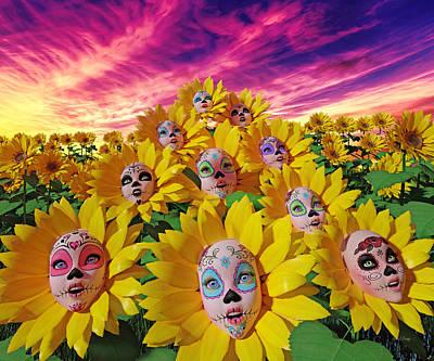 Light Paint Digital Art - Sunflowers by Betsy Knapp