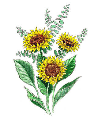 Painting - Sunflowers Botanical Bouquet by Irina Sztukowski