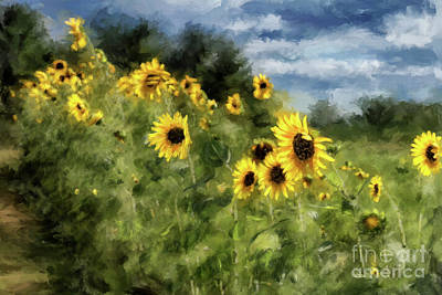Sunflowers Bowing And Waving Art Print