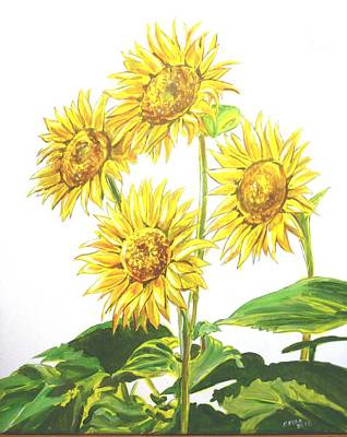 Painting - Sunflowers by Bryan Bustard