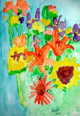 Painting - Sunflowers Carnation Tiger Lilies by Rachel Rose