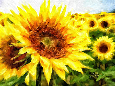 Digital Art - Sunflowers by Charlie Roman