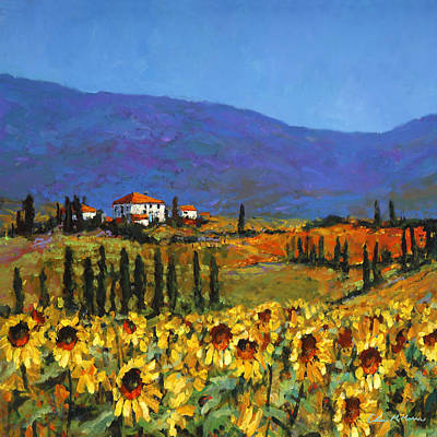 Tuscan Sunflowers Painting - Sunflowers by Chris Mc Morrow