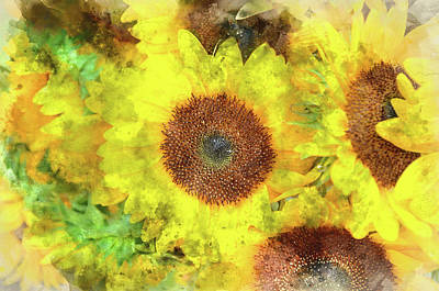 Photograph - Sunflowers Close Up by Brandon Bourdages