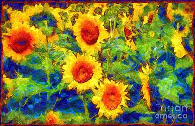 Photograph - Sunflowers Dance In A Field by Janine Riley