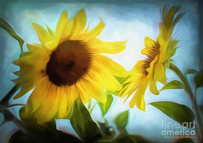 Photograph - Sunflowers Duet by Dominique Guillaume