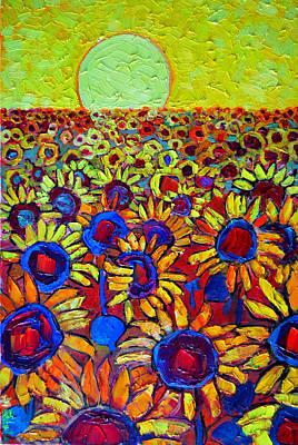 Sunflowers Field At Sunrise Art Print