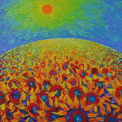 Tuscan Sunset Painting - Sunflowers Field Contemporary Impressionist Landscape Ana Maria Edulescu Palette Knife Oil Painting  by Ana Maria Edulescu