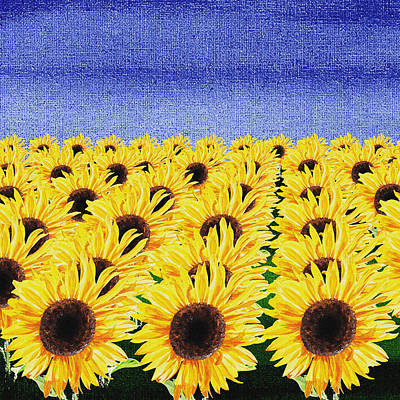 Royalty-Free and Rights-Managed Images - Sunflowers Field by Irina Sztukowski